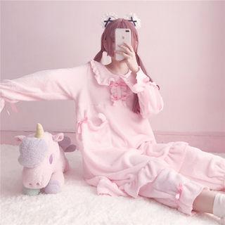 ピンク 可愛い 2点セット パジャマ 寝巻き 2色 寝間着
