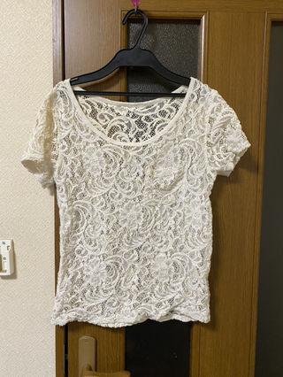 moussy 総レースTシャツ