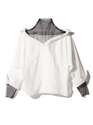 新品 GRL グレイル チュールレイヤードスキッパーシャツ