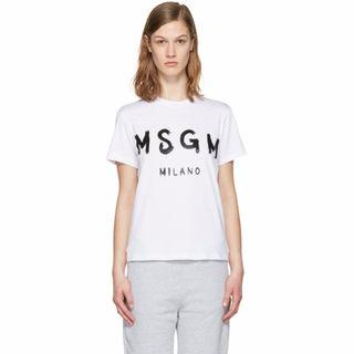 人気 MSGM エムエスジーエム Tシャツ ホワイト