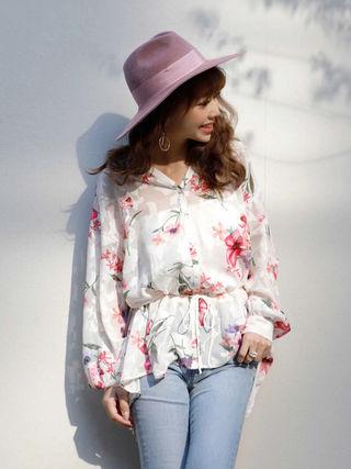 eimy 美品 フラワー オーバーシャツ ホワイト 花柄