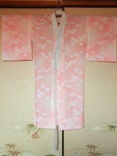 オレンジ白花*長襦袢化繊単チョー美品衣紋ヌキ