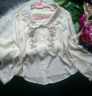 美品!レトロガール花柄刺繍×レースエリブラウスシャツ