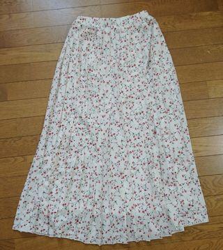 花柄 プリーツ ロングスカート