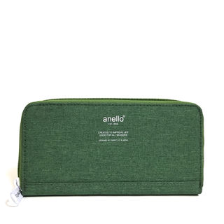【anello】高密度杢調素材ロングウォレット[グリーン]