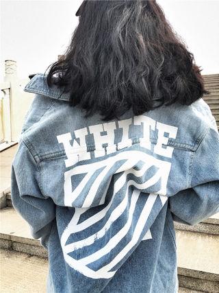 秋物 オフホワイト デニムTシャツ 長デザイン 男女兼用