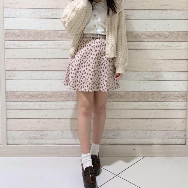 新品 NICE CLAUP ベルト付ダルメシアンミニスカート