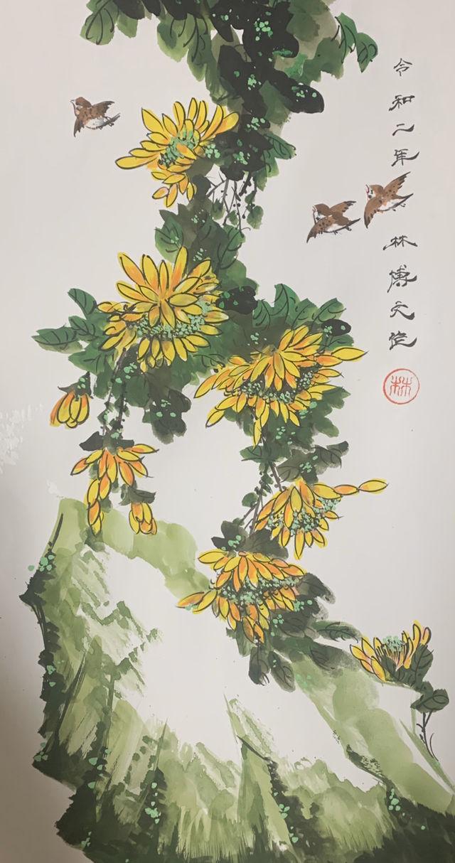 雨上がりの秋菊 水墨、ほかの絵具 掛け軸 - フリマアプリ&サイトShoppies[ショッピーズ]