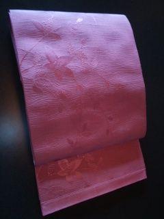 ローズピンク単衣帯 正絹未使用品全通柄
