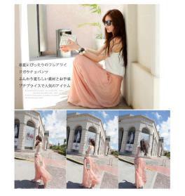 ピンク【オリジナル、長い裏地、実物写真付き】ワイドパンツ
