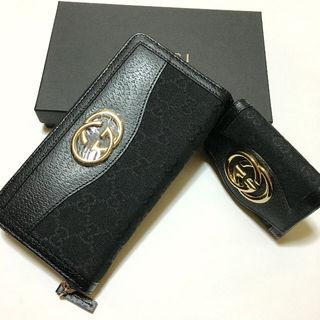 GG柄GG金具ジッピーウォレット長財布と6連キーケース 黒