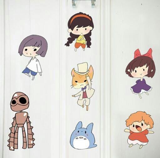 たくさんの可愛いらしいキャラクターが集まった壁紙シール