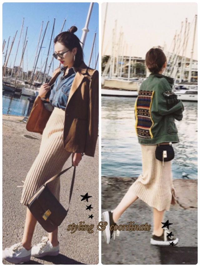 sexy ミモレ丈long skirt AW ベージュ!