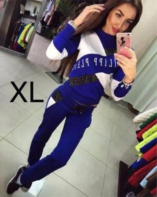 新品□英字ロゴ□上下セットアップ ブルー XL