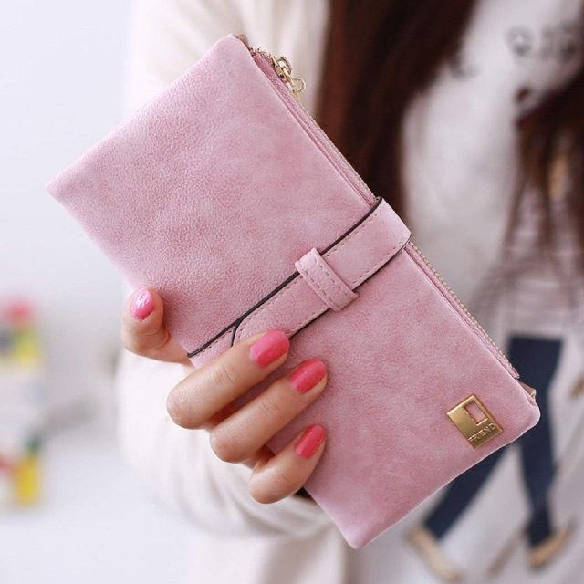 値下中! 財布 コンパクト2つ折り財布 スウェード調 ピンク