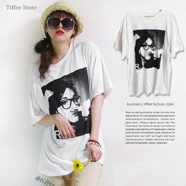 【交換不可】オーバーサイズ女性柄プリントTシャツチュニック白