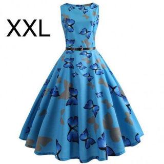 新品ベルト付き蝶々柄 ふんわりワンピース ブルー XXL