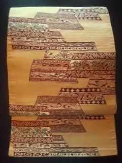 カラシ/Asianオシャレ帯正絹ナゴヤ美品