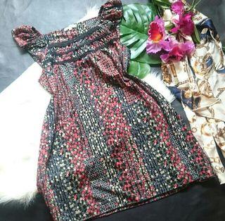 新品!anyFAMレトロ花柄×フリル夏生地ワンピース