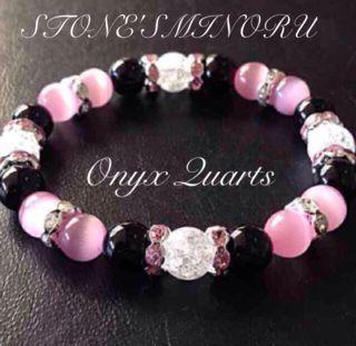 ピンクと黒の可愛いレディースのパワーストーン 数珠
