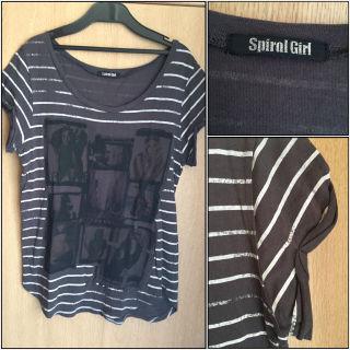 SPIRAL GIRLボーダープリントTシャツ