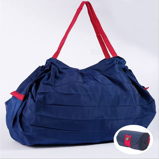 エコバッグ 折りたたみ 大容量 【藍色】 かごサイズ 新品