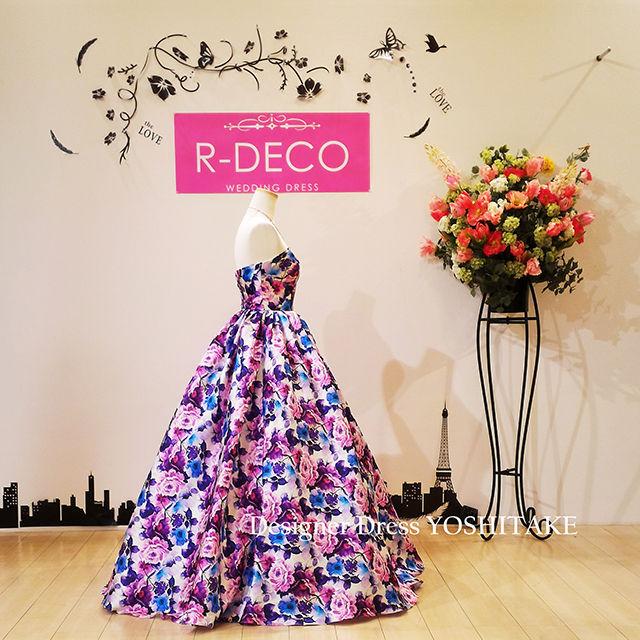 ウエデイングドレス パープル花柄 披露宴/二次会ドレス