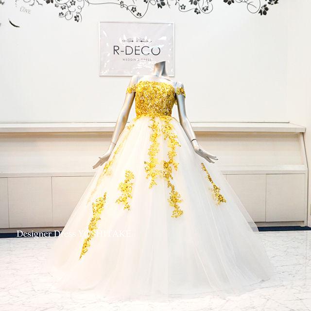 ウエディングドレス(パニエ無料) ゴールドレースドレス