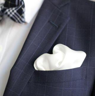ポケットチーフ シルク 100% メンズ 【白】結婚式