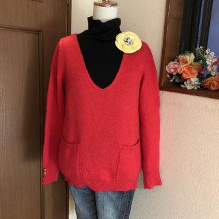 ヘザー ふわモコ モヘア混 Vネック セーター ニット 赤色