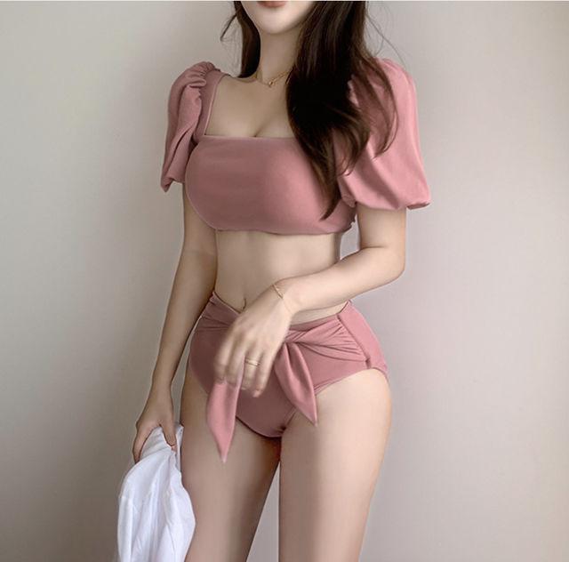パフスリーブリボンビキニ  韓国ファッション  水着