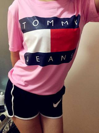 人気トミーヒルフィガー可愛いピンクTシャツ 半袖