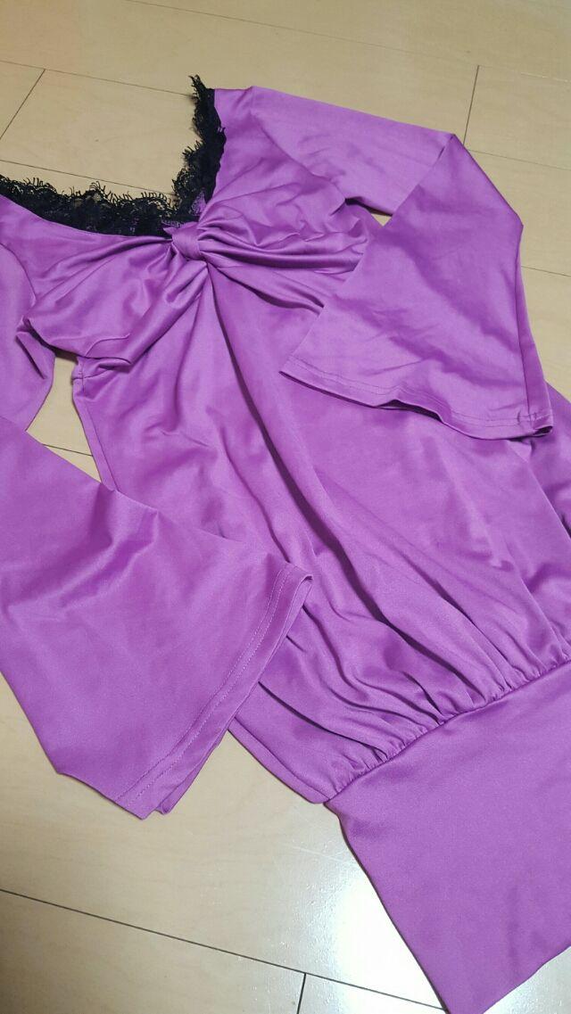 紫ゆるピタワンピース(Valentine's High(バレンタインハイ) ) - フリマアプリ&サイトShoppies[ショッピーズ]