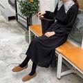 【即日発送】 刺繍 襟レース Aライン ワンピース ドレス