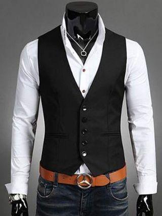 サイズL ジレ ベスト メンズ フォーマル 紳士  スーツ