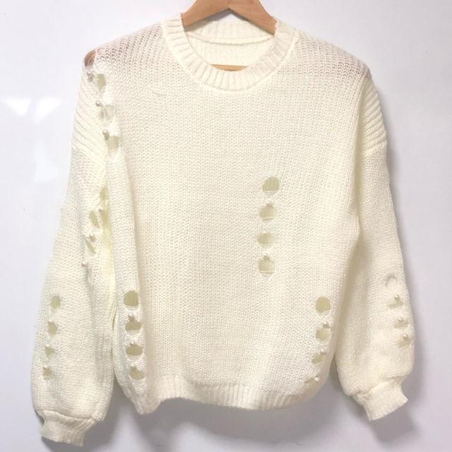 【ゆるふわ】ニット セーター ホワイト 長袖 ビーズ【続出】