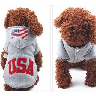 USAロゴ 犬用 グレー パーカー ドッグウェア