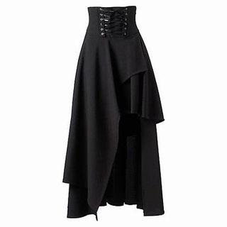新品編み上げデザインマキシ丈スカート ブラック