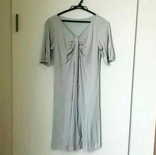 サイズ38 ELLE 半袖ワンピース グレー系