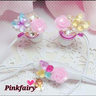 送料込みPink fairy姫デコイヤホンマイク