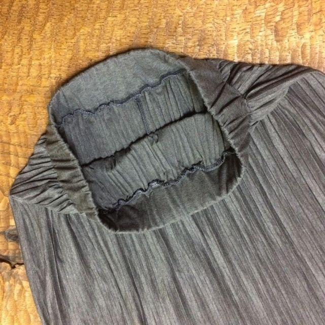 秋冬 グレー マキシ丈 プリーツ スカート 美脚 体型