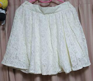夏物 白レースミニスカート