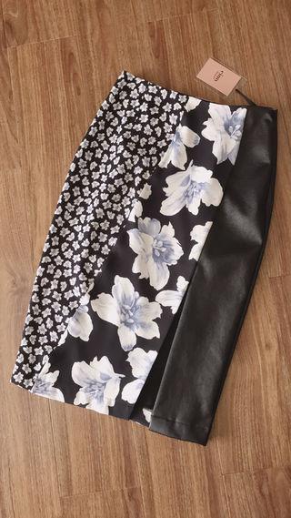 新品 eimy レザー フラワー タイト スカート ブラック