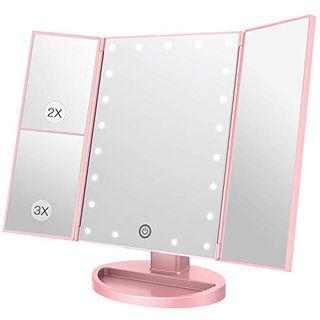 ミラー 鏡 卓上 LED三面鏡 折りたたみ式 拡大鏡付き