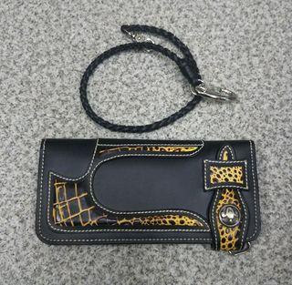 MOMO メンズ 長財布 合成皮革 ウォレット ブラック