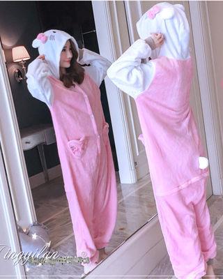 レディース連体 キティパジャマ 寝巻き ルームウェアふわモコ