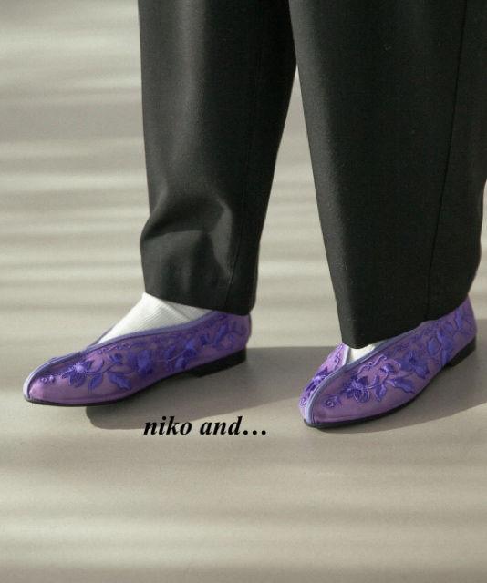 新品niko and…チュールフラットパンプス