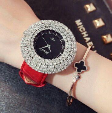 ビッグフェイス 腕時計 レディース ラインストーン 赤 黒