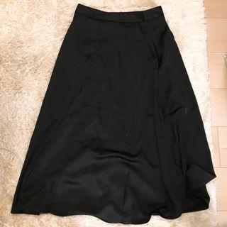 ロングスカート サテン素材 ブラック GU