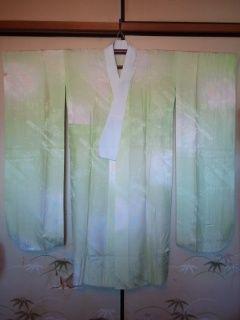 黄緑/桜振袖長襦袢正絹155美品レタパP